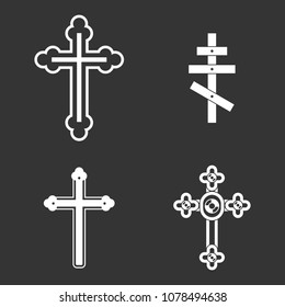 Cross icon set vector white isolated on grey background
