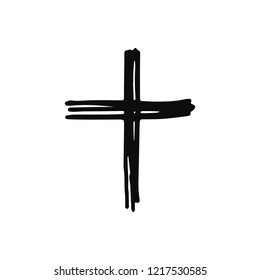 cross icon. sketch isolated object black.
