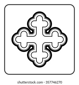 Cross icon. Traditional religion ornate symbol. Black silhouette sign isolated on White background. Monochrome design element. Religion concept for different projects. Stock Vector illustration