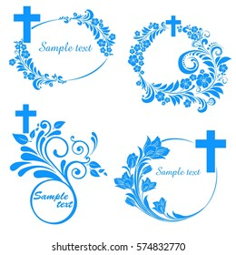Cross icons set. Decorated crosses signs or ornamented crosses symbols. Obituary notice - art deco frames with cross. Collection of Christian Symbol isolated on White background. Vector illustration