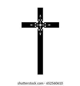 Cross icons set. Decorated crosses signs or symbols. Illustration