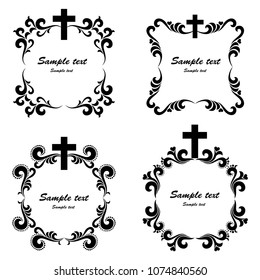 Cross icons set. Obituary notice - art deco frames with cross. Collection of Christian Symbol design elements isolated on White background. Vector illustration