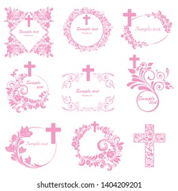Cross icons set. Obituary notice - art deco frames with cross. Big Collection of Christian Symbol design elements isolated on White background. Vector illustration