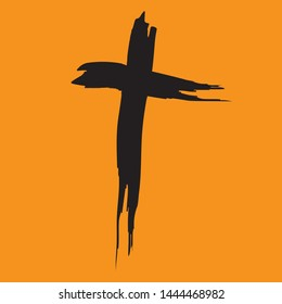 cross isolated free style christianity symbol black silhouette