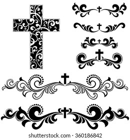 Cross isolated on White background.  Collection of Christian Symbol design elements isolated on White background. Vector illustration