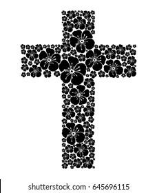 Cross isolated on White background. Christian Symbol. Vector Illustration