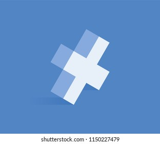 Cross isometric icon. Vector illustration for web design in flat isometric 3D style.