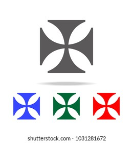 cross of the Knights Templar icon. Elements in multi colored icons for mobile concept and web apps. Icons for website design and development, app development on white background