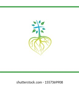 Cross like Tree with Heart Shape Roots. Christian Cross. Good roots. Vector Logo design template