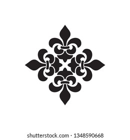 Cross of Lilies, Royal heraldic cross. Fleur de Lis sign, musketeer icon. Vector black element on white background