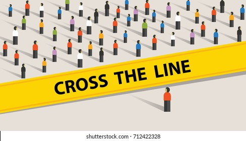 cross the line limit of social control group of society limit border standing ask to stop never do taboo