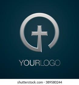 Cross logo. Christian church logo.