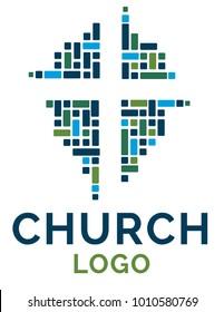 Cross logo illustration for christian organization, school or church.