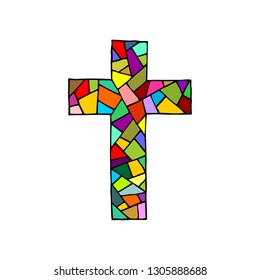 The cross of the Lord and Savior Jesus Christ, made in the technique of mosaic, hand-drawn. Christian and biblical symbols.