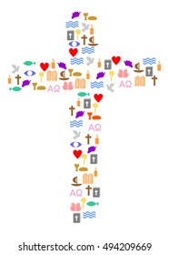 Cross made of different christian symbols.