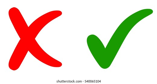 Cross mark and check mark in the flat .Yes and no in  flat, vector sign