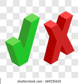 Cross mark and check mark in the isometric.Yes and no in the isometric.