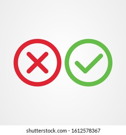Cross mark and Check mark symbol icon vector