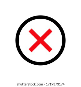 Cross mark icon vector on white background