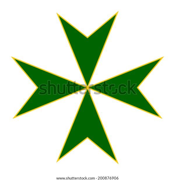 Cross of Military and Gospitalersky Order of Saint Lazarus of Jerusalem.