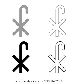 Cross monogram X Symbol Saint Pastor sign Religious cross icon set black color vector illustration flat style simple image
