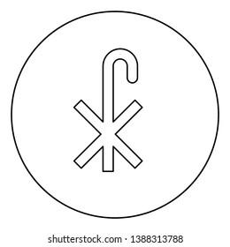 Cross monogram X Symbol Saint Pastor sign Religious cross icon in circle round outline black