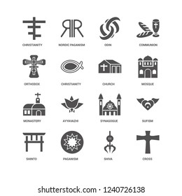 Cross, Mosque, Church, Shinto, Sufism, Christianity, Orthodox, Monastery, Shiva, Paganism, Odin icon 16 set EPS 10 vector format. Icons optimized for both large and small resolutions.