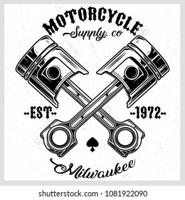 Cross Motorcycle Piston Black and White Emblem Vector Illustration