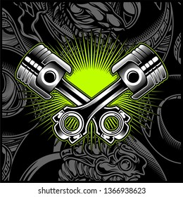 Cross Motorcycle Piston Black and White Emblem,Logos,Badge - Vector