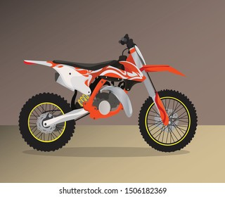 cross motorcycle  vector orange and white  color  isolated