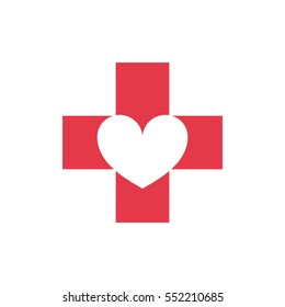 Cross with negative space heart logo for medical company