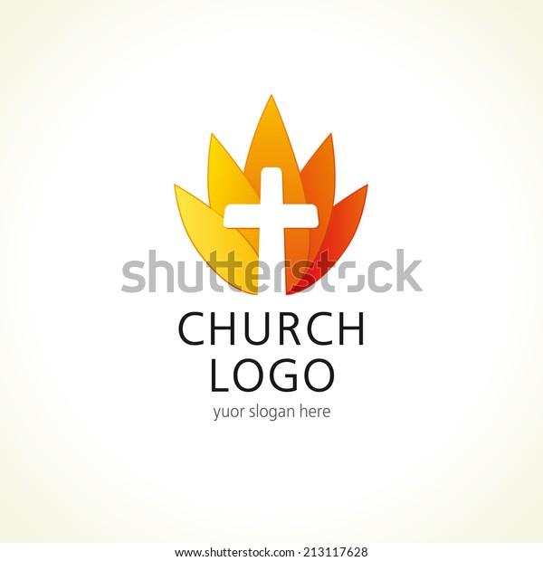 Cross On Fire Christian Church Logo Stock Vector (Royalty