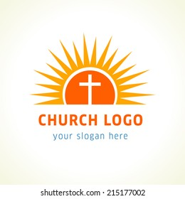 Cross on sun light orange vector logo. Missionary icon. Template symbol for churches, events and christian organizations.