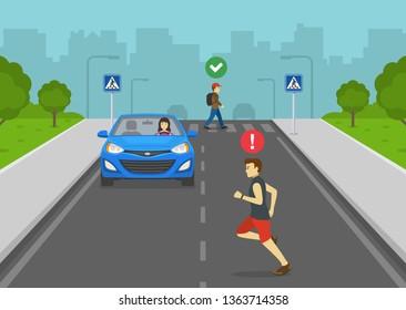 Cross only at designated crosswalks. Pedestrian crossing street. Man running across street. Road safety rule. Flat vector illustration.