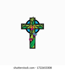 Cross with ornament leaf and floral design
