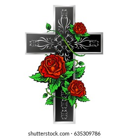 Cross with ornament and roses design for vector