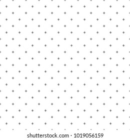 Cross pattern seamless black line on white background. Plus sign abstract background vector.