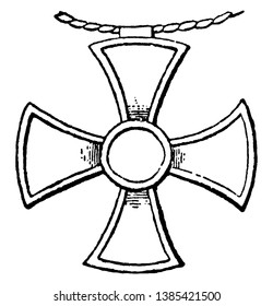 Cross Pendant worn by the king of Assyria, vintage line drawing or engraving illustration.