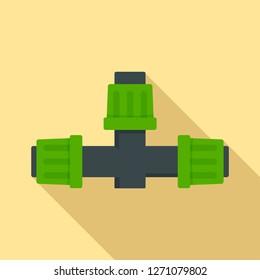 Cross pipe irrigation icon. Flat illustration of cross pipe irrigation vector icon for web design