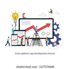Cross platform app development concept. Flat design vector illustration.