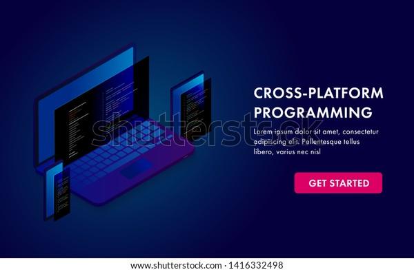 Cross Platform Programming Software Development Website Stock Vector