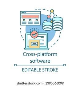 Cross platform software development concept icon. Adaptive programming application idea thin line illustration. Responsive app, internet technology. Vector isolated outline drawing. Editable stroke