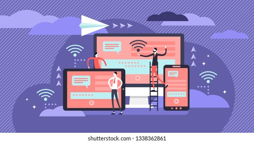 Cross platform vector illustration. Flat tiny IT applications persons concept. User common technology experience on multiple wireless devices. Operating program interface collaboration and connection.