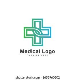 Cross plus medical logo icon design template elements.