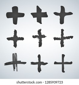 Cross or plus symbols. Set of 9 hand painted plus signs isolated on a white background. Vector illustration collection.