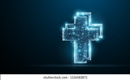 Cross. Polygonal wireframe jesus christ cross on blue night sky with dots, stars. Christianity, religion symbol, illustration or background