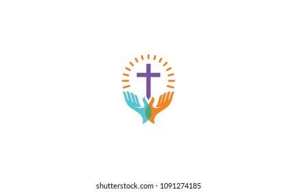 cross pray shining logo