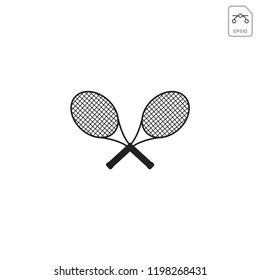 cross Racket for tennis icon logo template vector illustration and inspiration