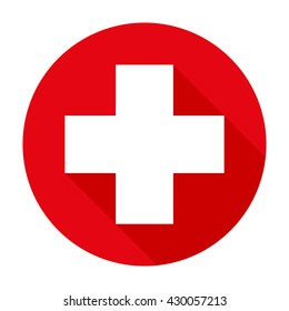 Cross red hospital medical vector sign/symbol. For mobile user interface