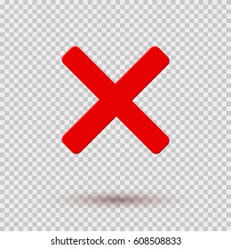 Cross red icon isolated on transparent background. Symbol No or X button for correct, vote, check, not approved, error, wrong and failed decision. Vector cross flat sign or mark element for design.